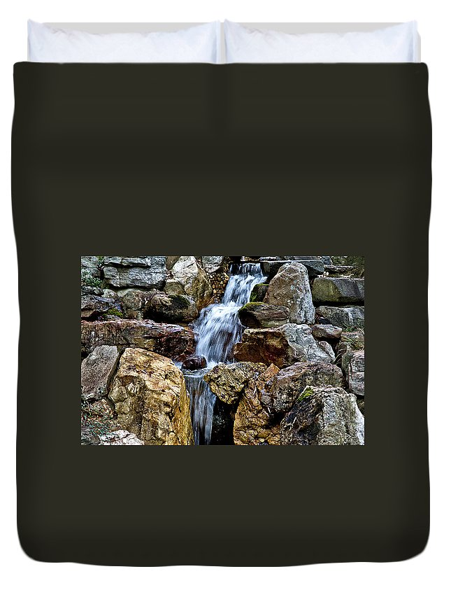 Duvet Cover featuring the photograph Waterfall 2 by Burney Lieberman