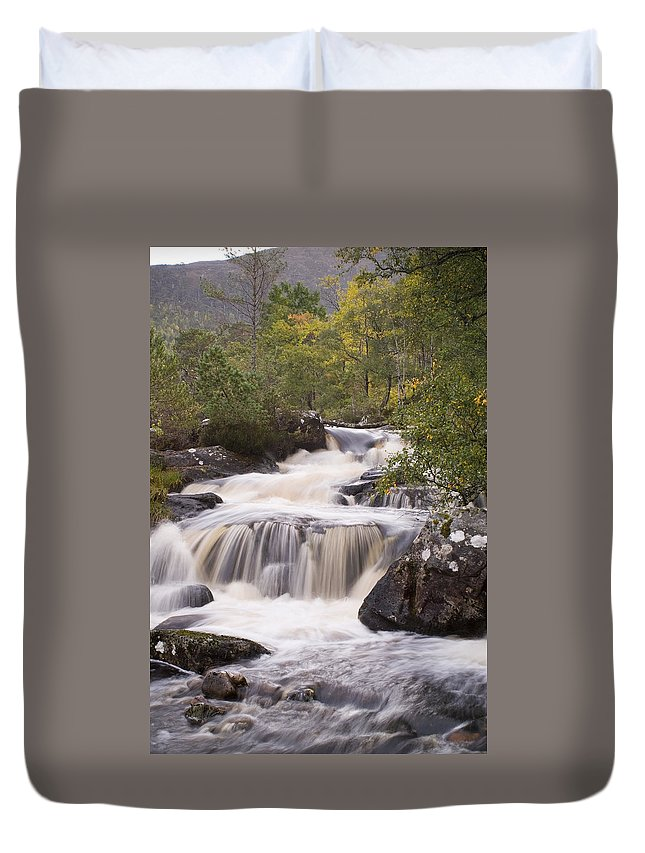 Aesthetic Duvet Cover featuring the photograph Waterfall In The Highlands by Howard Kennedy