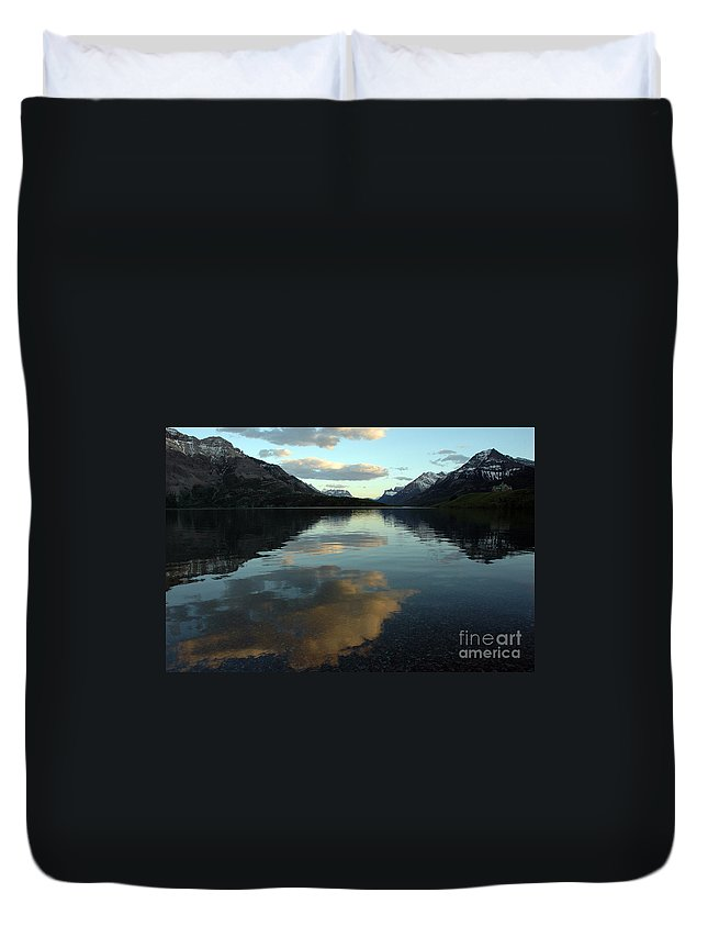 Waterton Lake Duvet Cover featuring the photograph Waterton Lake Sunset Canada by Vivian Christopher