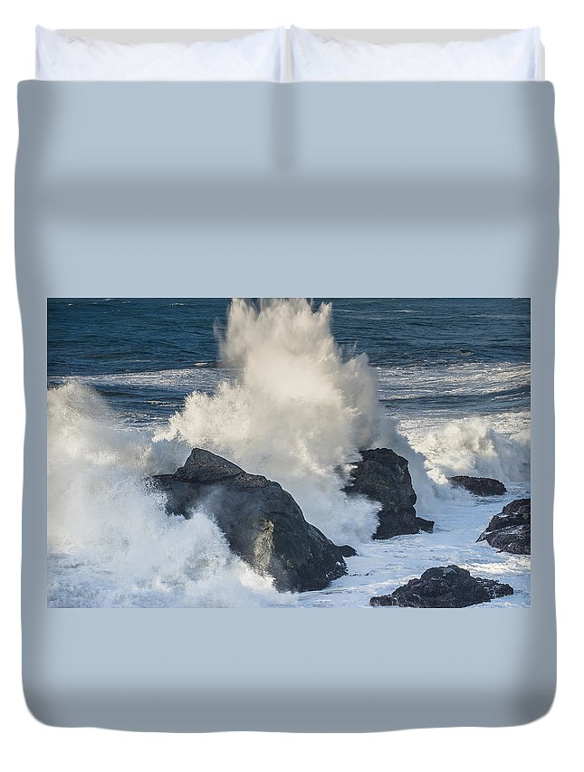 Surf Duvet Cover featuring the photograph Wave Meets Seastack by Greg Nyquist