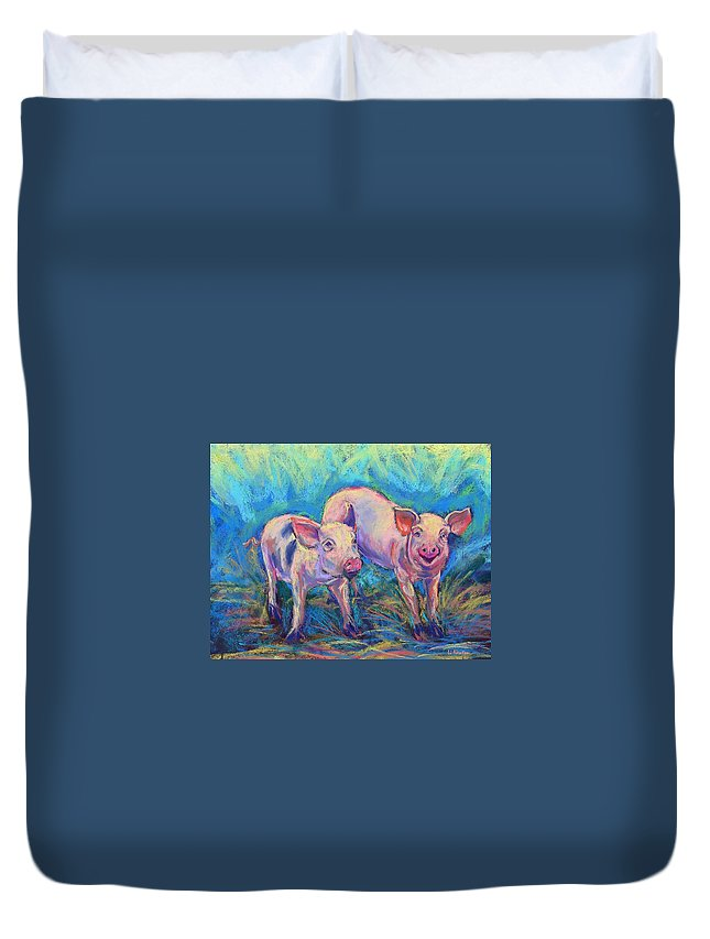 Pigs Duvet Cover featuring the photograph We Won't Be Bacon by Li Newton
