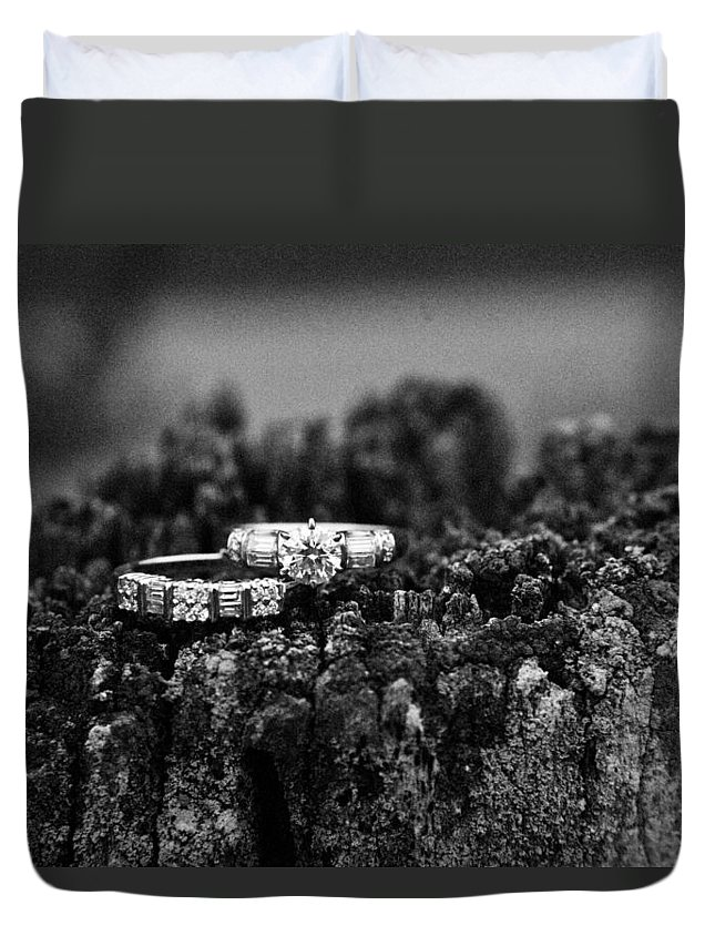 Romance Duvet Cover featuring the photograph Wedding Bands On Stump by Douglas Barnett