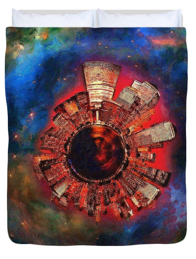 Manhattan Duvet Cover featuring the digital art Wee Manhattan Planet - Artist Rendition by Nikki Marie Smith