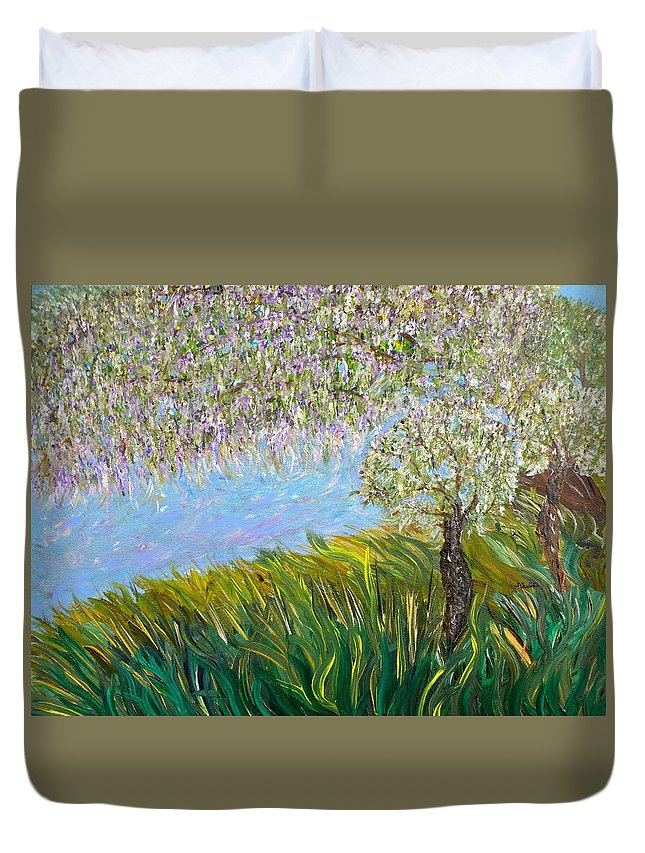 Whimsical Landscape Duvet Cover featuring the painting Weep No More by Sara Credito