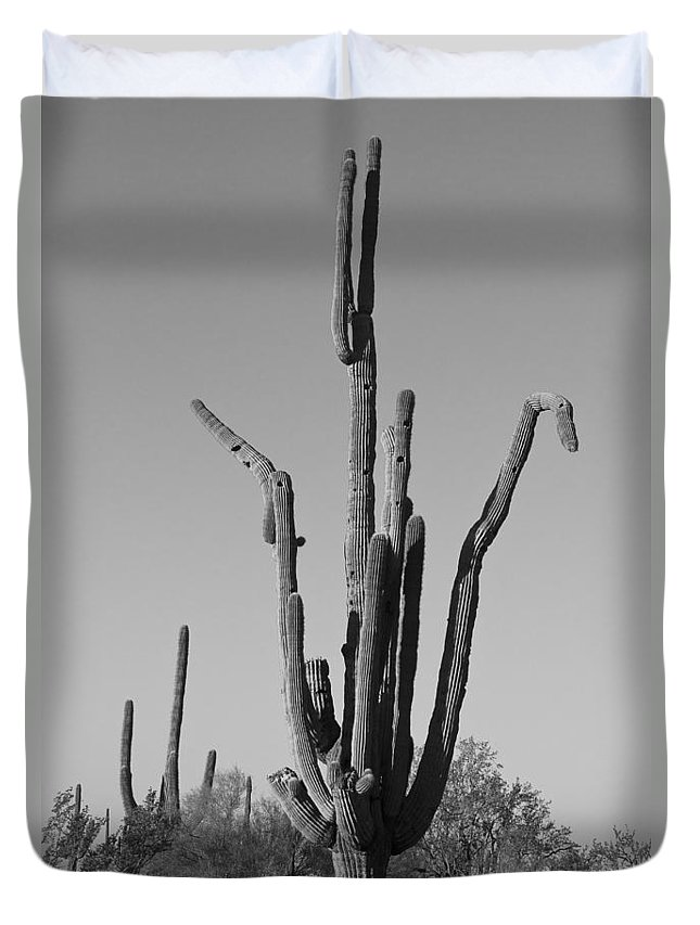 Weird Duvet Cover featuring the photograph Weird Giant Saguaro Cactus In Black And White by James BO Insogna