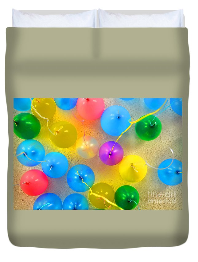 Balloons Duvet Cover featuring the photograph We're Floatin Now by Richard Ortolano