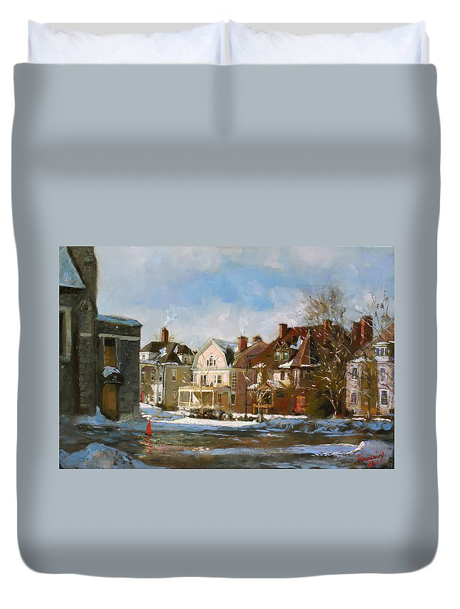 Houses Duvet Cover featuring the painting West Ferry Street by Ylli Haruni