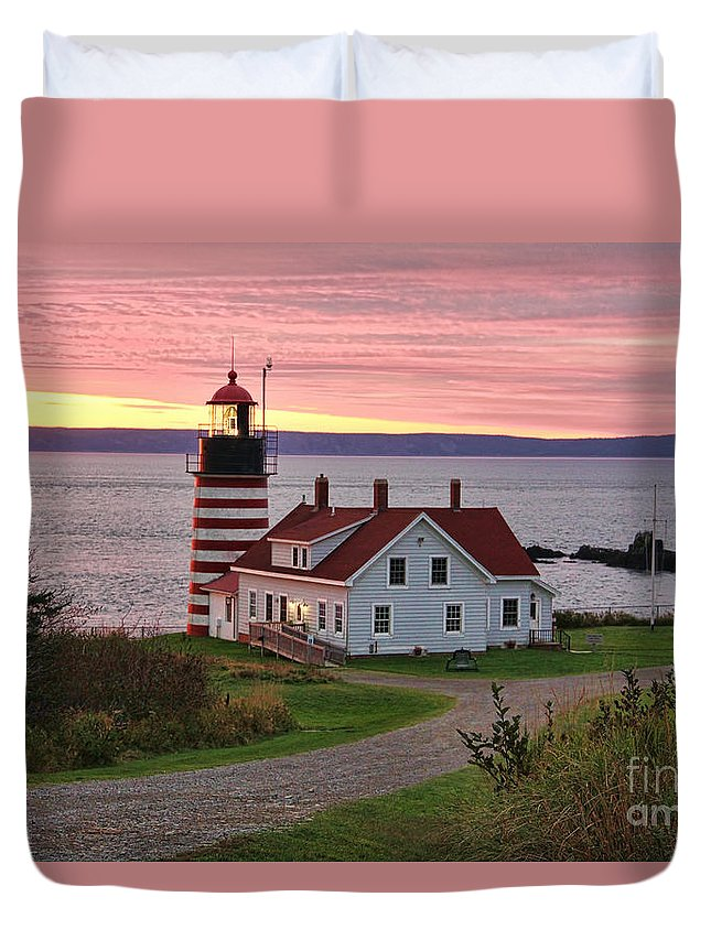 West Quoddy Head Duvet Cover featuring the photograph West Quoddy Head Lighthouse by Jack Schultz