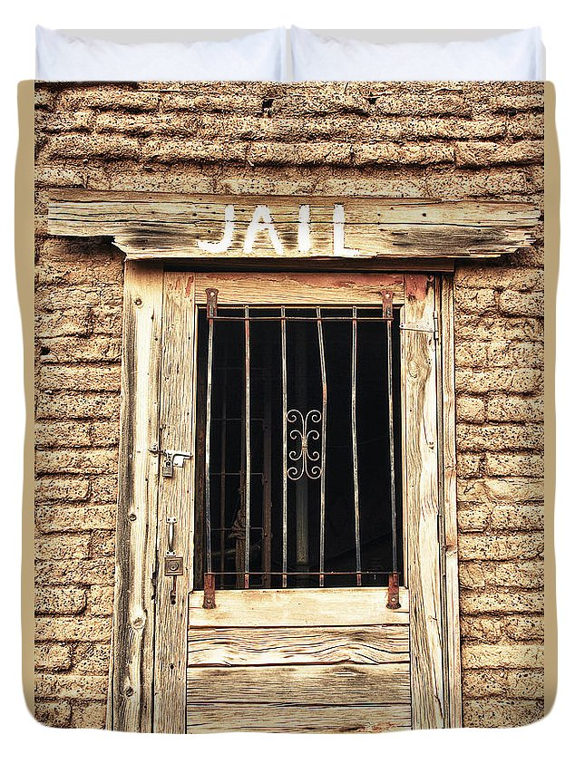 'old Jailhouse' Duvet Cover featuring the photograph Western Jail House Door by James BO Insogna