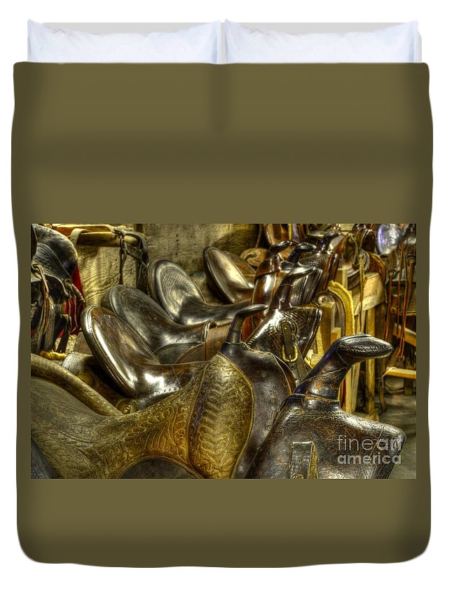 Saddles Duvet Cover featuring the photograph Western Saddles by Bob Christopher