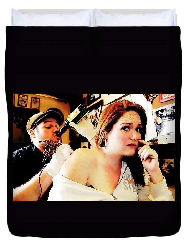 Tattoo Artist Duvet Cover featuring the photograph What Am I Doing by Rick Berk