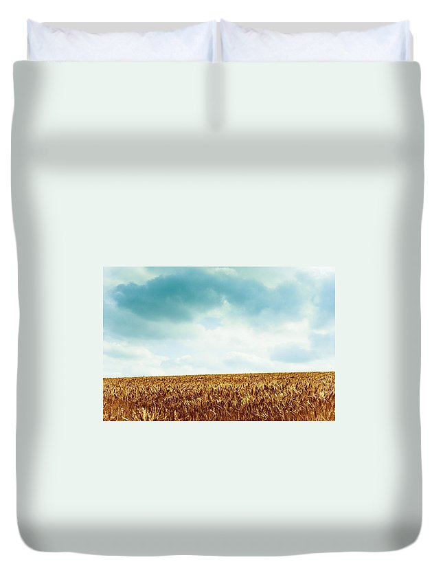 Sky Duvet Cover featuring the photograph Wheatfield And Cloudy Sky by Olivier De Rycke