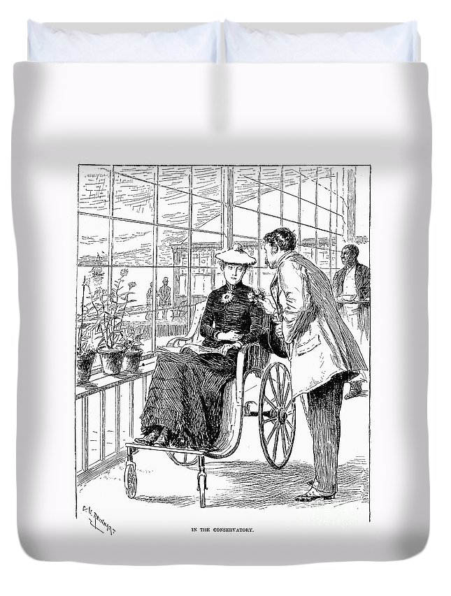 1886 Duvet Cover featuring the photograph Wheelchair, 1886 by Granger