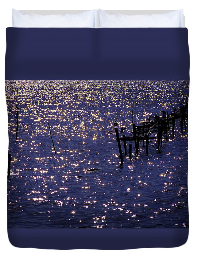 Lake Duvet Cover featuring the photograph When A Day Ends by Michele Mule'