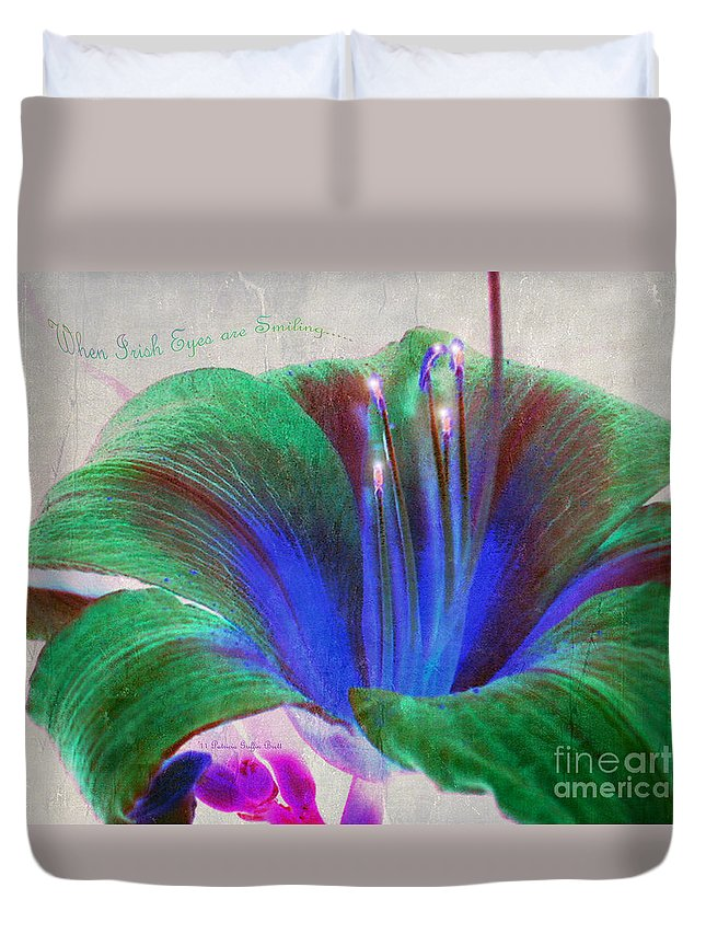 Floral Art Duvet Cover featuring the photograph When Irish Eyes are Smiling by Patricia Griffin Brett