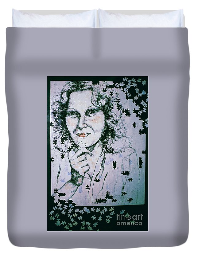 Self-portrait Duvet Cover featuring the mixed media Where Does The Next Piece Go? by Rory Sagner