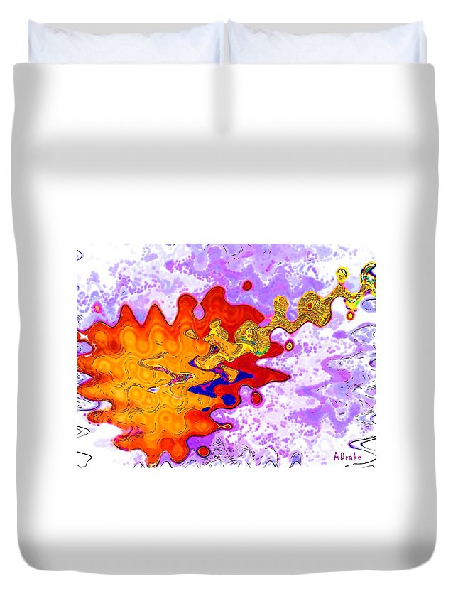 Guitar Duvet Cover featuring the digital art While My Guitar Gently Weeps by Alec Drake