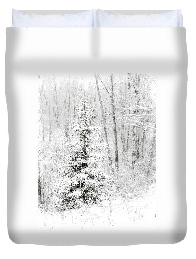 White Duvet Cover featuring the photograph Whispers The Snow by Angie Rea