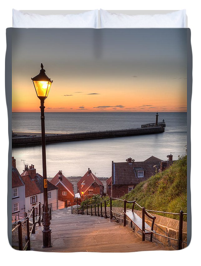Whitby Duvet Cover featuring the photograph Whitby Steps - Orange Glow by Martin Williams