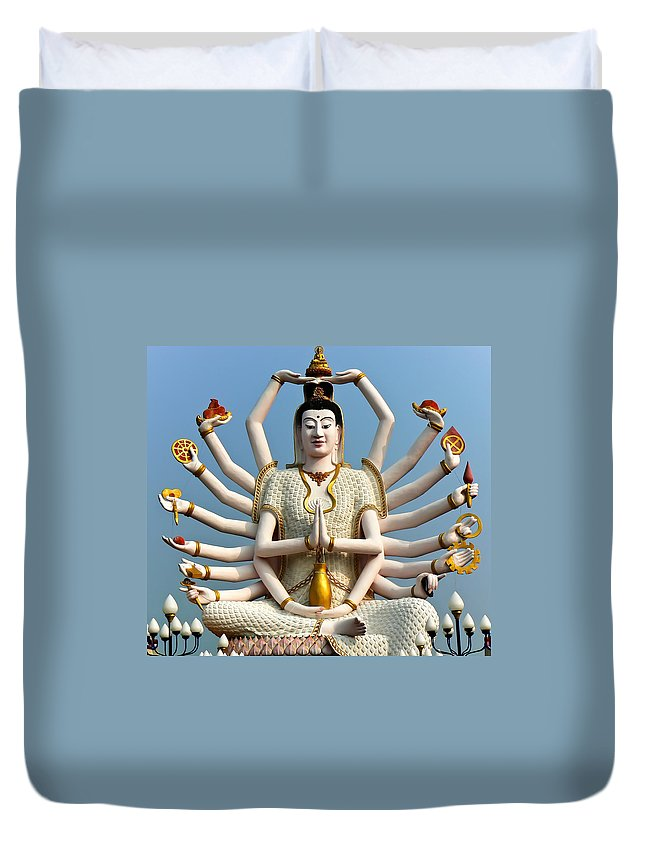 Buddha Duvet Cover featuring the photograph White Buddha by Adrian Evans