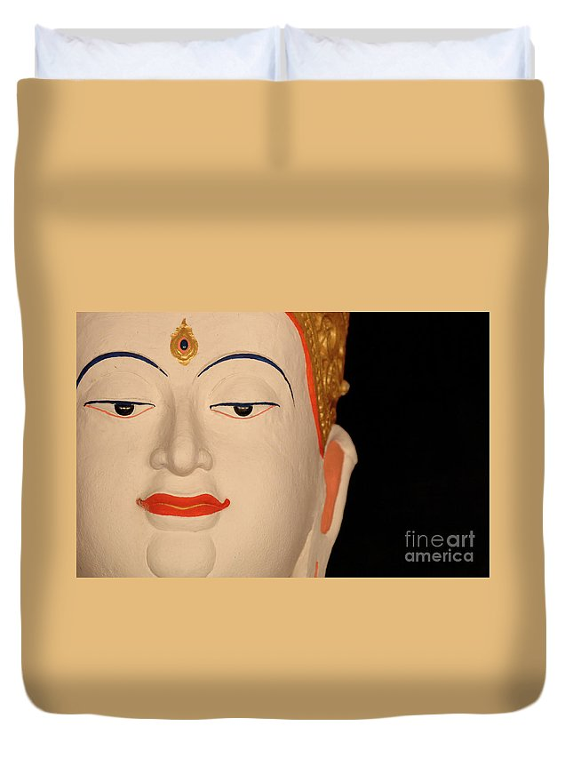 Buddha Duvet Cover featuring the photograph White Buddha Face by Bob Christopher