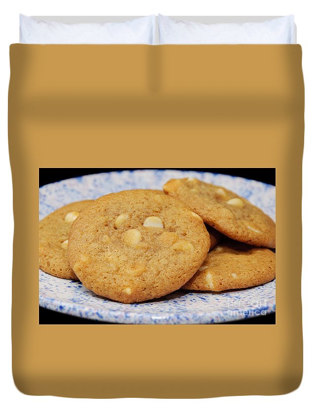 White Chocolate Duvet Cover featuring the photograph White Chocolate Chip Cookies by Andee Design