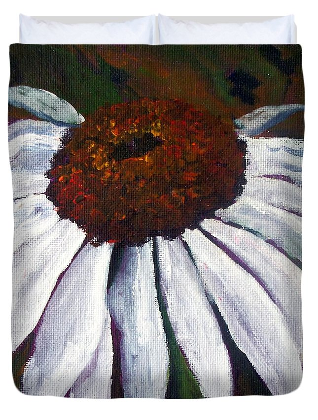Cone Flower Duvet Cover featuring the painting White Cone by Tami Booher