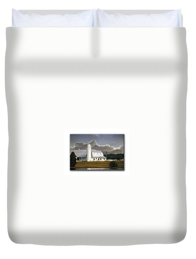 2d Duvet Cover featuring the photograph White Farm by Brian Wallace