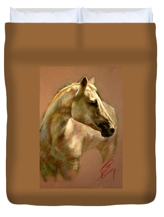 White Horse Duvet Cover featuring the pastel White Horse by Ylli Haruni
