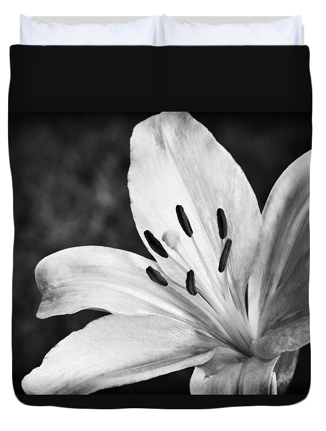 White Lilly Duvet Cover featuring the photograph White Lilly by Saija Lehtonen