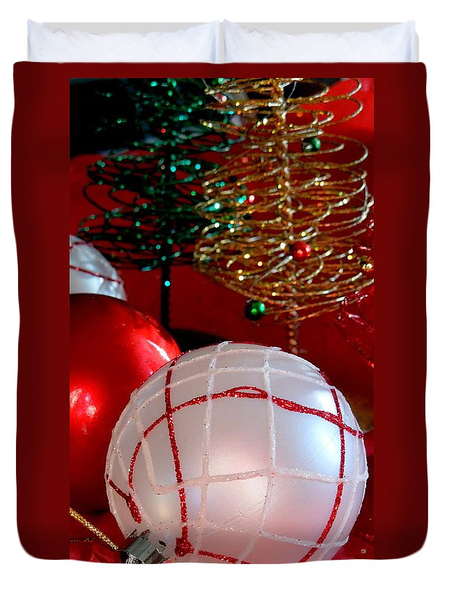 Christmas Duvet Cover featuring the photograph White On Red by Caroline Stella