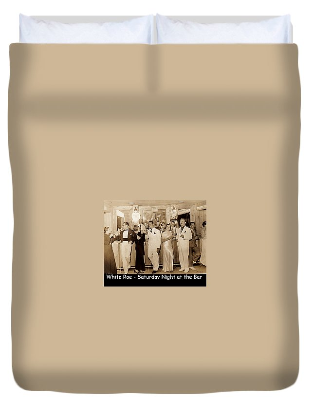 Ny Duvet Cover featuring the photograph White Roe Lake Hotel-livingston Manor-saturday Night At The Bar by Ericamaxine Price