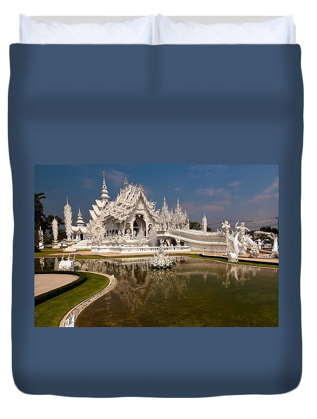 Asia Duvet Cover featuring the photograph White Temple by Adrian Evans