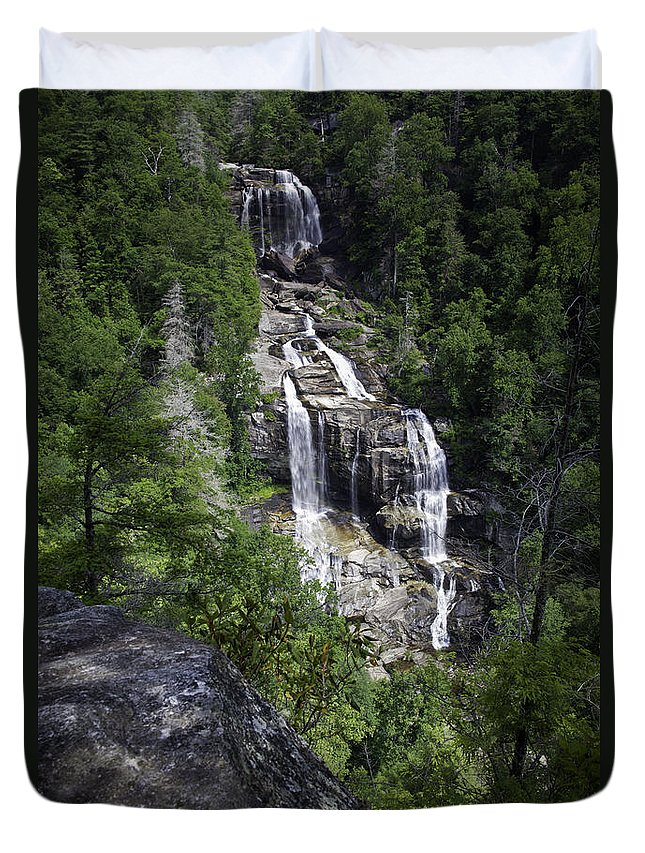 Waterfall Duvet Cover featuring the photograph Whitewater Falls by Rob Travis