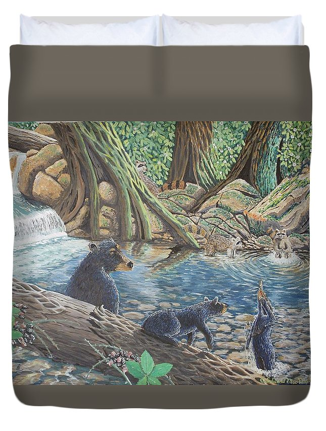 Bear And Cub's Duvet Cover featuring the painting Whos Got Who by Carey MacDonald