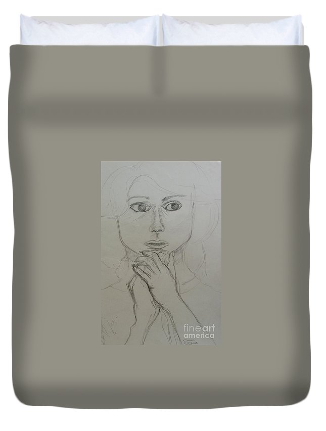 Portrait Duvet Cover featuring the painting Who's There by Caroline Street