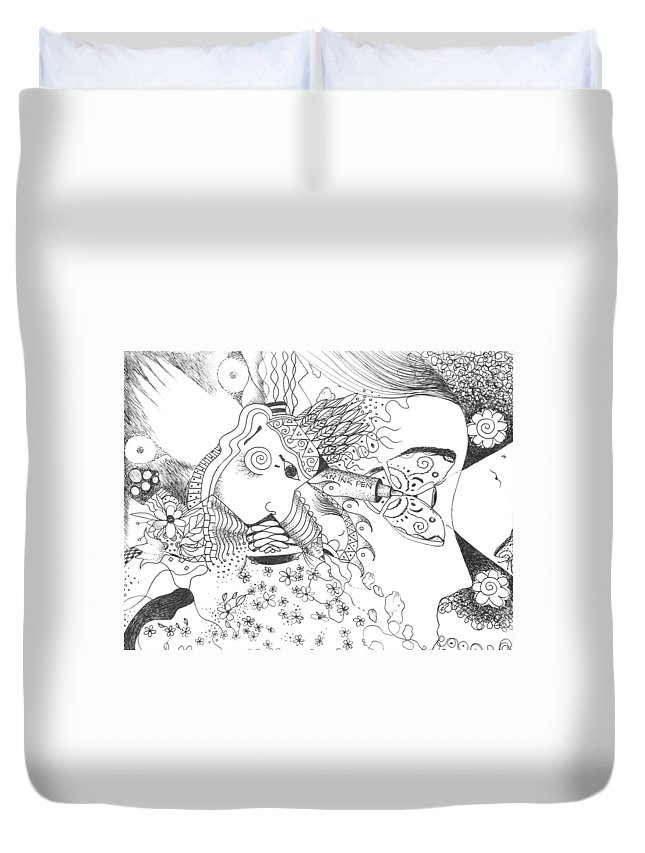 Sacred Duvet Cover featuring the drawing Why Not Flowers by Helena Tiainen