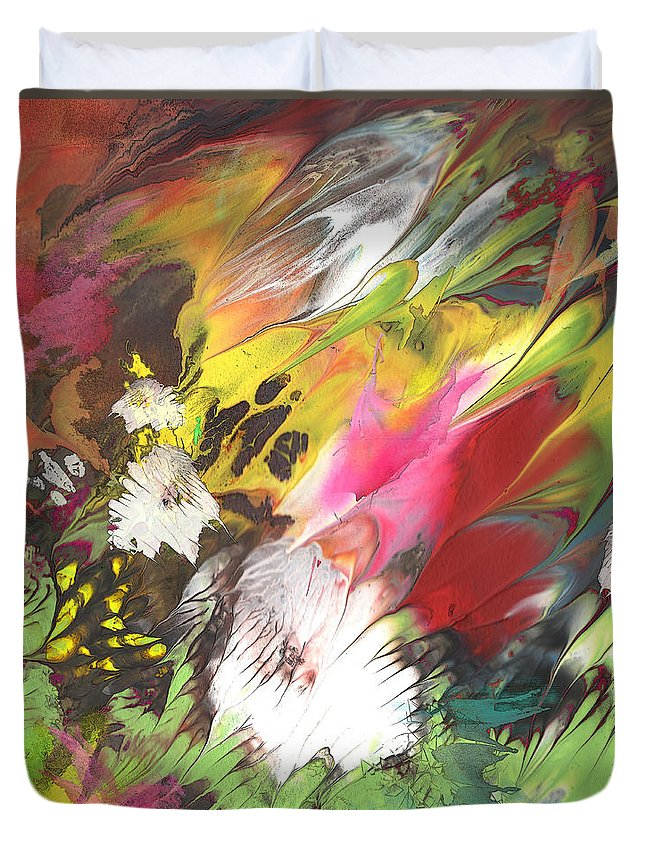 Flowers Duvet Cover featuring the painting Wild Flowers 04 by Miki De Goodaboom