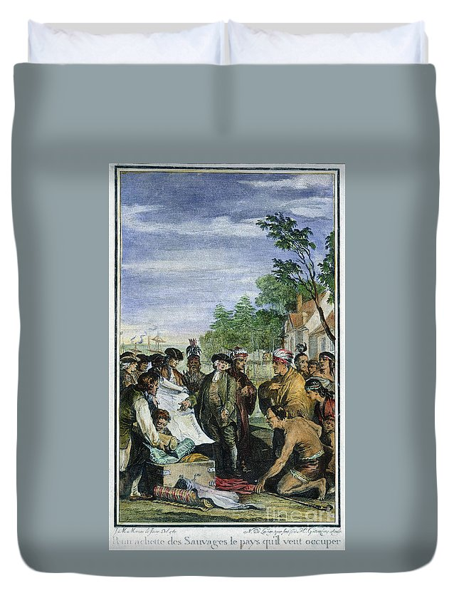 1682 Duvet Cover featuring the photograph William Penns Treaty, 1682 by Granger