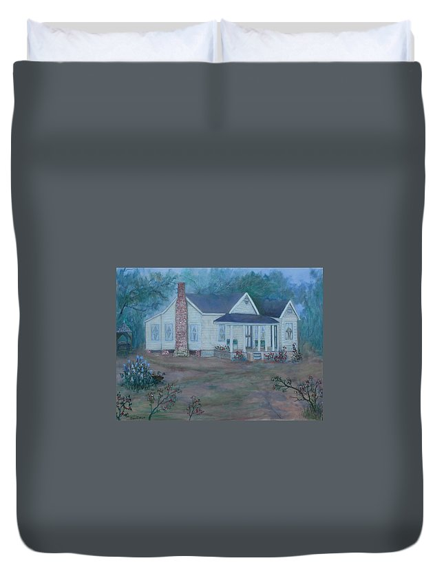 Landscape Duvet Cover featuring the painting Wilson Homestead by Ben Kiger