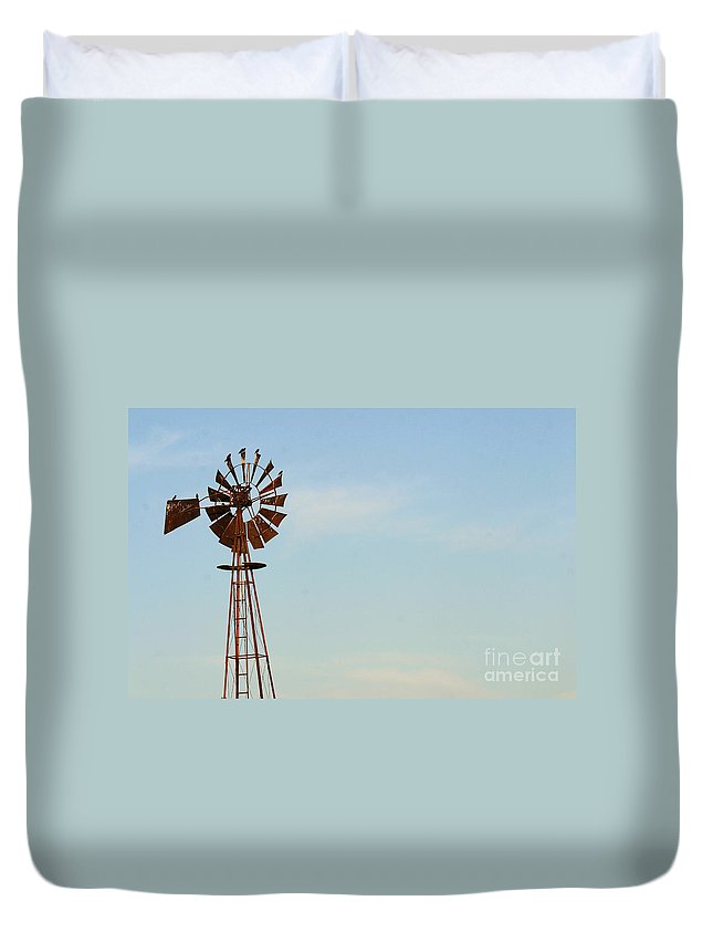 Agriculture Duvet Cover featuring the photograph Windmill-3673 by Gary Gingrich Galleries