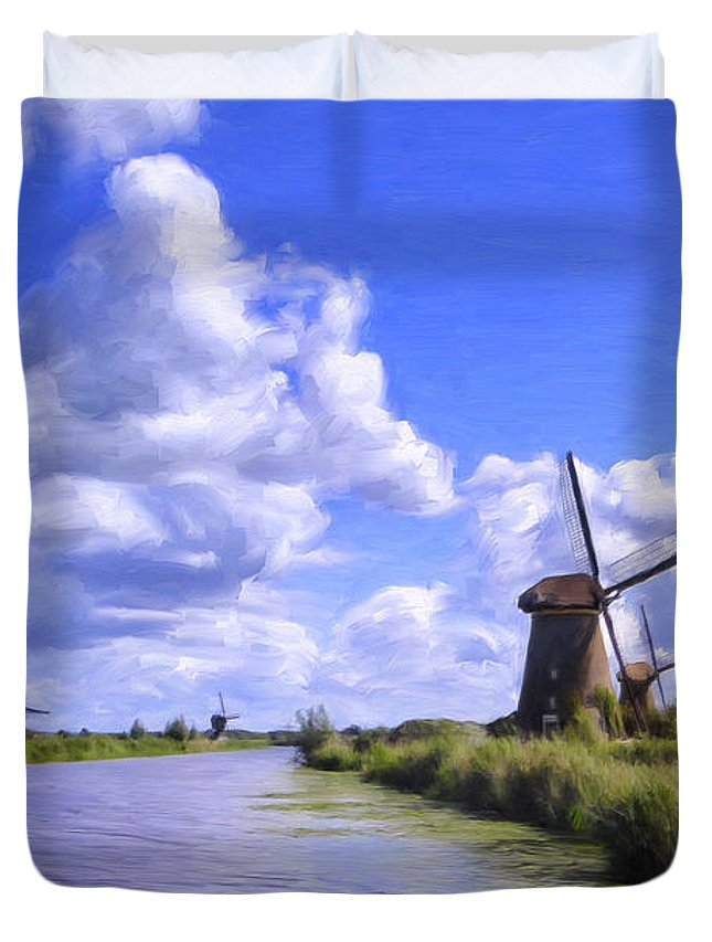 Windmills Duvet Cover featuring the painting Windmills In Holland by Dominic Piperata