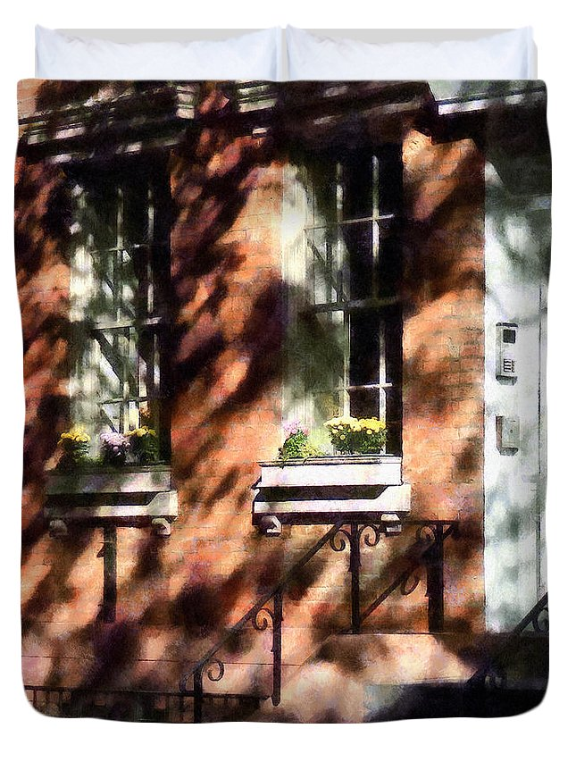 Window Box Duvet Cover featuring the photograph Window Boxes Greenwich Village by Susan Savad