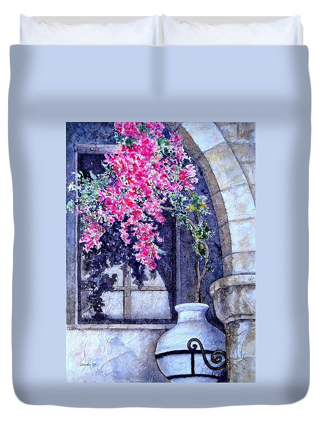 Landscape Duvet Cover featuring the painting Window Shadow In Athens Greece by Candy Yu