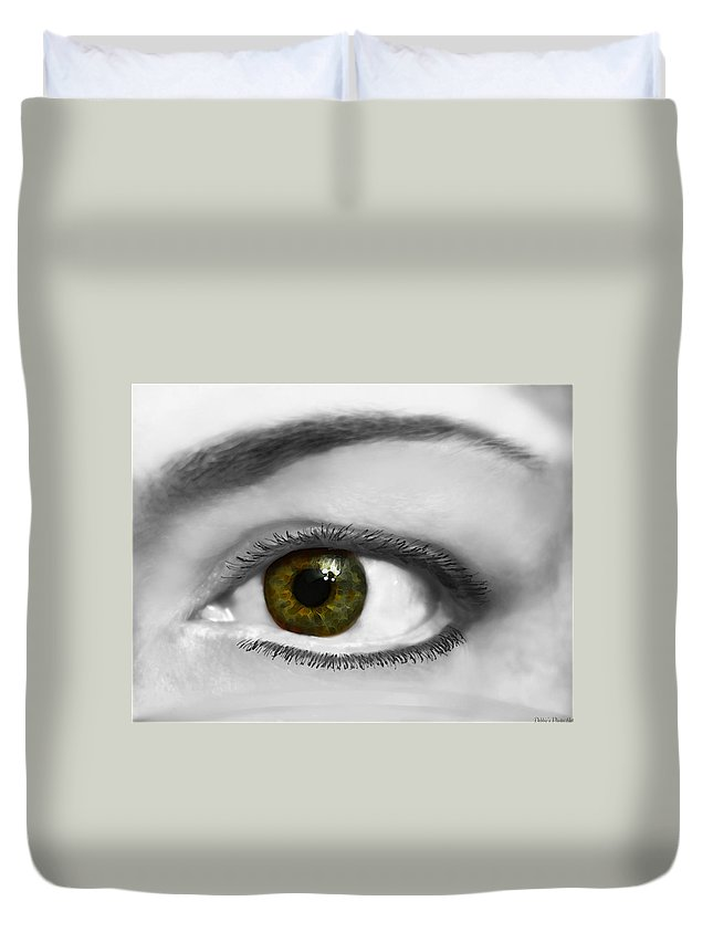 Prople Duvet Cover featuring the photograph Window To The Soul by Debbie Portwood