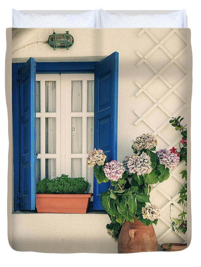 Windows Duvet Cover featuring the photograph Window With Flowers by Joana Kruse