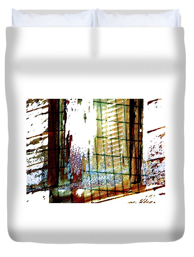 Abstract Duvet Cover featuring the photograph Windows Old And New 2 by Lenore Senior
