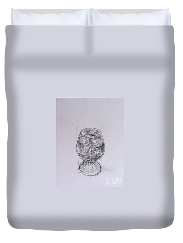 Still-life Duvet Cover featuring the painting Wine Glass by Caroline Street