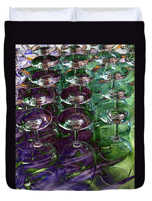 Wine Glasses Duvet Cover featuring the digital art Wine Goblets by Will Borden
