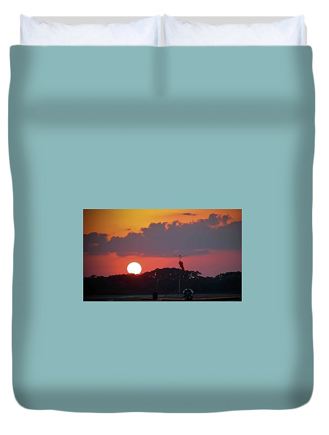 Sunset Duvet Cover featuring the photograph Wings At Rest Under The Sunset by DigiArt Diaries by Vicky B Fuller